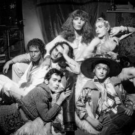 Michael Roberts; Ossie Clark; Mickey Finn; Pierre La Roche; Marianne Faithfull; Valentino Moon (Jurgen), by Clive Arrowsmith - NPG x199703