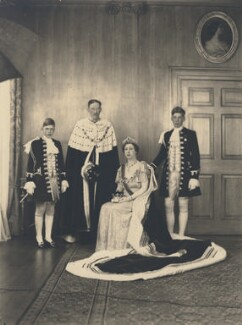 Hon. Gerald David Lascelles; Henry George Charles Lascelles, 6th Earl of Harewood; Princess Mary, Countess of Harewood; George Lascelles, 7th Earl of Harewood, by Speaight Ltd - NPG x199617