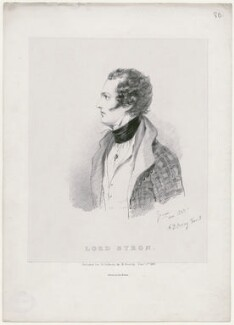 Lord Byron, by Richard James Lane, printed by  Graf & Soret, published by  Richard Bentley, after  Alfred, Count D'Orsay - NPG D46292
