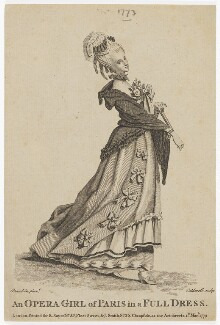 'An Opera Girl of Paris in a Full Dress', by Richard Caldwell, published by  Robert Sayer, and published by  J. Smith, after  Michael Vincent (or Charles) Brandoin - NPG D47483
