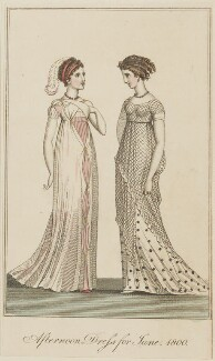 'Afternoon Dress for June 1800', published in The Lady's Monthly Museum - NPG D47489