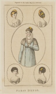 'Paris Dress', February 1805, by Henry Mutlow, published in  The Lady's Magazine - NPG D47493