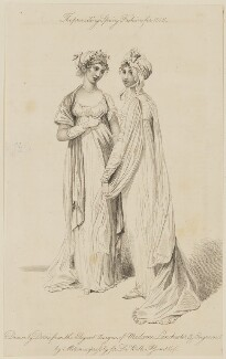 'The prevailing Spring Fashions for 1806...the Elegant designs of Madame Lanchester', by James Mitan, after  Arthur William Devis, published by  John Bell, published for  La Belle Assemblée - NPG D47494