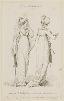 'Spring Fashions for 1806... Walking Dresses in Kensington Garden 1 June 1806', published by John Bell, published in  La Belle Assemblée or Bell's Court and Fashionable Magazine - NPG D47495