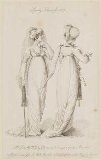 'Spring Fashions for 1806... Walking Dresses in Kensington Garden 1 June 1806', published by John Bell, published in  La Belle Assemblée or Bell's Court and Fashionable Magazine - NPG D47495
