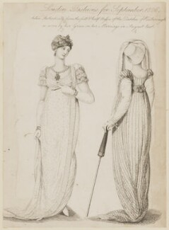 Harriet Innes-Ker (née Charlewood), Duchess of Roxburghe ('London Fashions for September 1806, taken Authentically from the full & half dresses of the Dutches of Roxborough as worn by her Grace on her Marriage in August last'), published by John Bell, published in  La Belle Assemblée or Bell's Court and Fashionable Magazine - NPG D47501