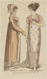Morning dress and Full dress, February 1807, by R. Sands, published by  Vernor, Hood & Sharpe, published in  The Lady's Monthly Museum - NPG D47503