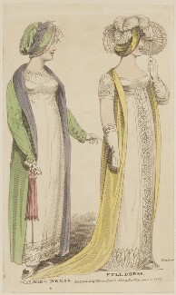 Walking dress and Full dress, June 1807, by R. Sands, published by  Vernor, Hood & Sharpe, published in  The Lady's Monthly Museum - NPG D47504