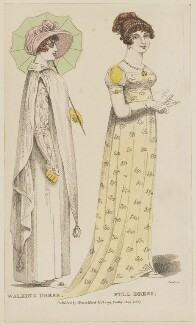 Walking dress and Full dress, August 1807, by R. Sands, published by  Vernor, Hood & Sharpe, published for  Lady's Monthly Museum - NPG D47505