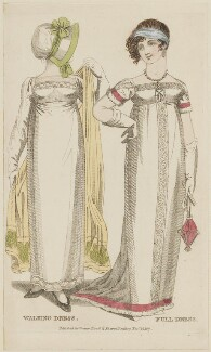 Walking dress and Full dress, November 1807, probably by R. Sands, published by  Vernor, Hood & Sharpe, published for  Lady's Monthly Museum - NPG D47506