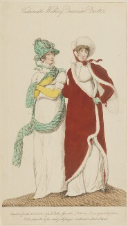 'Fashionable Walking Dresses in Dec 1807', published by John Bell, published in  La Belle Assemblée or Bell's Court and Fashionable Magazine - NPG D47507