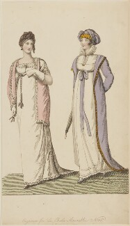 'Walking Dresses in April 1807' (Evening or Ball Dress and Walking or Carriage Costume), published by John Bell, published in  La Belle Assemblée or Bell's Court and Fashionable Magazine - NPG D47509