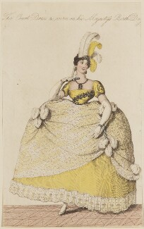 Georgiana Charlotte (née Bertie), Marchioness of Cholmondeley ('The Court Dress as worn on his Majesty's Birth Day'), published by John Bell, published in  La Belle Assemblée or Bell's Court and Fashionable Magazine - NPG D47511