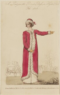 'A Lady in the Parade Dress in Hyde Park, Feb. 1808', published by John Bell, published in  La Belle Assemblée or Bell's Court and Fashionable Magazine - NPG D47513
