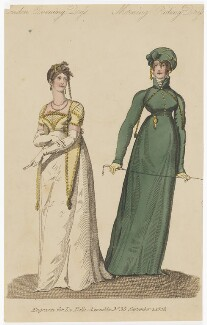 London Evening Dress and Morning Riding Dress for September 1808, published by John Bell, published in  La Belle Assemblée or Bell's Court and Fashionable Magazine - NPG D47514