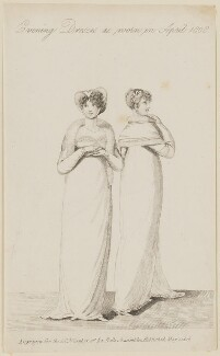 'Evening Dresses as worn in April 1808', published by John Bell, published in  La Belle Assemblée or Bell's Court and Fashionable Magazine - NPG D47515