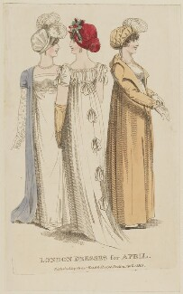 'London Dresses for April', published by Vernor, Hood & Sharpe, published for  Lady's Monthly Museum - NPG D47517
