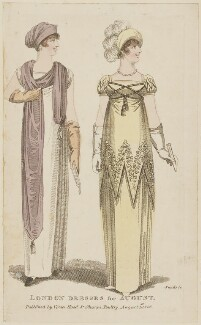 'London Dresses for August', by R. Sands, published by  Vernor, Hood & Sharpe, published for  Lady's Monthly Museum - NPG D47519