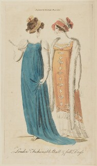 'London Fashionable Ball & full Dress', March 1806, published in The Lady's Magazine - NPG D47525