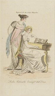 'London Fashionable Evening & Full Dress', August 1809, published in The Lady's Magazine - NPG D47532