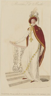 'Alcantara Hat & Mantle' (the composition of Mrs. Villars of Lower Gower-street), published by John Bell, published in  La Belle Assemblée or Bell's Court and Fashionable Magazine - NPG D47542