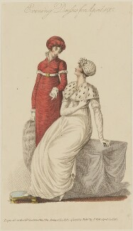 'Evening Dresses for April 1810', published by John Bell, published in  La Belle Assemblée or Bell's Court and Fashionable Magazine - NPG D47547