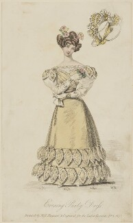 'Evening Party Dress invented by Miss Pierpoint', August 1827, probably by William Hopwood, published by  S. Robinson, published in  The Lady's Magazine - NPG D47588
