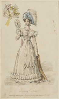 'Evening Costume invented by Miss Pierpoint', May 1827, probably by William Hopwood, published by  S. Robinson, published in  The Lady's Magazine - NPG D47589