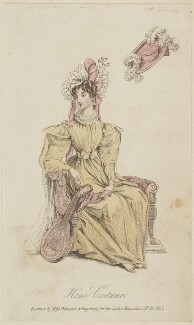 'Home Costume invented by Miss Pierpoint', October 1827, probably by William Hopwood, published by  S. Robinson, published in  The Lady's Magazine - NPG D47591