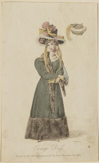 'Carriage Dress invented by Miss Pierpoint', November 1827, by William Hopwood, published by  S. Robinson, published in  The Lady's Magazine - NPG D47592