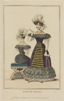'Evening Dress', April 1827, by William Read, published by  George Byrom Whittaker, published in  La Belle Assemblée or Bell's Court and Fashionable Magazine - NPG D47595
