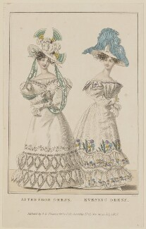 'Afternoon Dress. Evening Dress', July 1827, by William Read, published by  George Byrom Whittaker, published for  La Belle Assemblée - NPG D47599