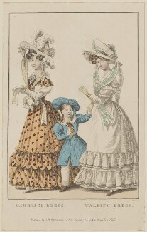 'Carriage Dress. Walking Dress', July 1827, by William Read, published by  George Byrom Whittaker, published in  La Belle Assemblée or Bell's Court and Fashionable Magazine - NPG D47597
