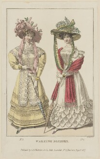 'Walking Dresses', August 1827, by William Read, published by  George Byrom Whittaker, published in  La Belle Assemblée or Bell's Court and Fashionable Magazine - NPG D47598