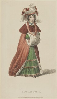 'Carriage Dress', December 1827, published by Rudolph Ackermann, published in  The Repository of Arts, Literature, Fashions, Manufactures, &c - NPG D47603