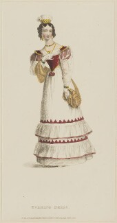 'Evening Dress', February 1828, published by Rudolph Ackermann, published in  The Repository of Arts, Literature, Fashions, Manufactures, &c - NPG D47614