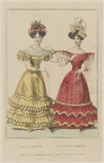 'Ball Dress. Evening Dress', January 1828, probably by William Read, published by  George Byrom Whittaker, published in  La Belle Assemblée or Bell's Court and Fashionable Magazine - NPG D47621