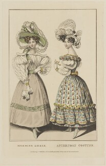'Morning Dress. Afternoon Costume', October 1828, probably by William Read, published by  George Byrom Whittaker, published for  La Belle Assemblée - NPG D47622