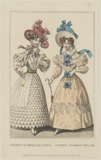 'Morning Promenade Dress. Summer Walking Costume', July 1828, probably by William Read, published by  George Byrom Whittaker, published in  La Belle Assemblée or Bell's Court and Fashionable Magazine - NPG D47623