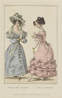 'Walking Dress. Ball Dress', June 1828, by William Read, published by  George Byrom Whittaker, published for  La Belle Assemblée - NPG D47624
