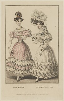 'Ball Dress. Evening Costume', September 1828, probably by William Read, published by  George Byrom Whittaker, published in  La Belle Assemblée or Bell's Court and Fashionable Magazine - NPG D47625