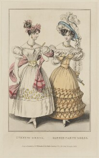 'Evening Dress. Dinner Party Dress', November 1828, probably by William Read, published by  George Byrom Whittaker, published for  La Belle Assemblée - NPG D47626