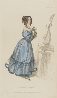 'Dinner Dress', February 1829, published by Rudolph Ackermann, published in  R. Ackermann's Repository of Fashions - NPG D47634