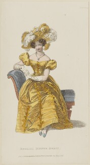 'English Dinner Dress', June 1829, published by Rudolph Ackermann, published in  R. Ackermann's Repository of Fashions - NPG D47635