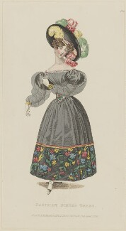 'Parisian Dinner Dress', January 1829, published by Rudolph Ackermann, published in  R. Ackermann's Repository of Fashions - NPG D47636