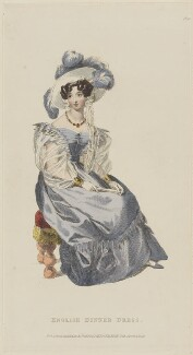 'English Dinner Dress', April 1829, published by Rudolph Ackermann, published in  R. Ackermann's Repository of Fashions - NPG D47637