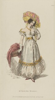 'Evening Dress', January 1829, published by Rudolph Ackermann, published in  R. Ackermann's Repository of Fashions - NPG D47638