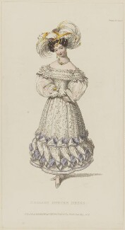 'English Dinner Dress', May 1829, published by Rudolph Ackermann, published in  R. Ackermann's Repository of Fashions - NPG D47639
