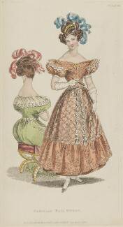 'Parisian Ball Dress', April 1829, published by Rudolph Ackermann, published in  R. Ackermann's Repository of Fashions - NPG D47641
