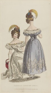 'Parisian Evening Dress', May 1829, published by Rudolph Ackermann, published in  R. Ackermann's Repository of Fashions - NPG D47643